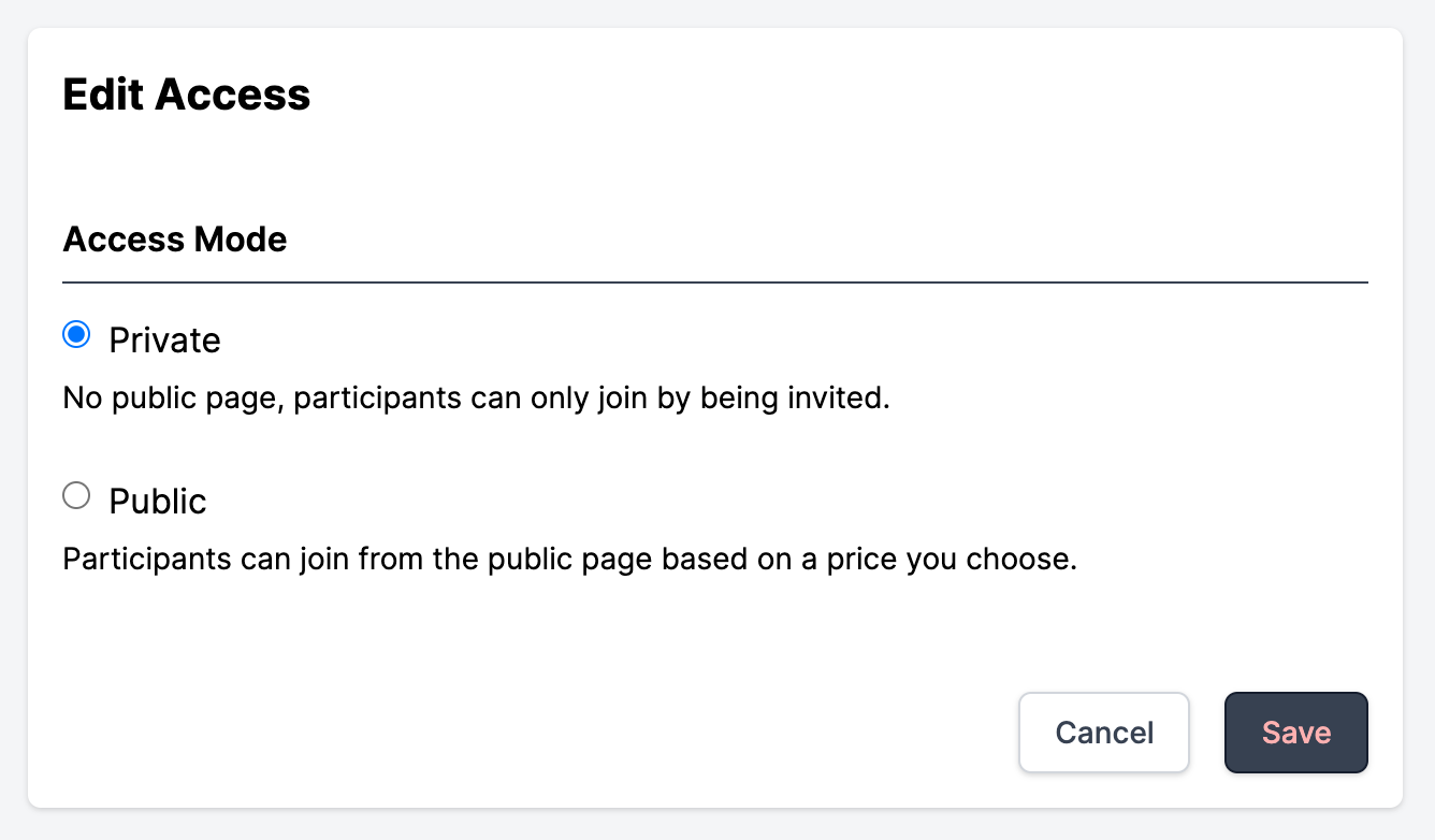 Screenshot of hub access settings