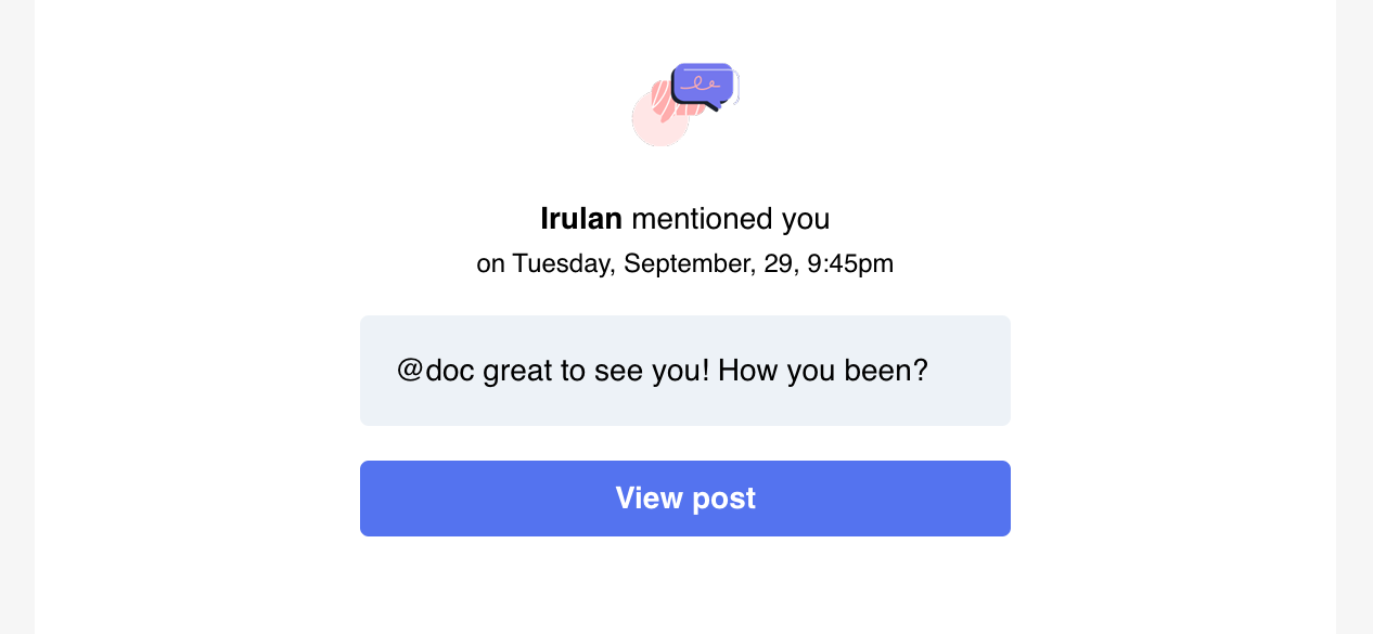 Screenshot of an @mention email notification