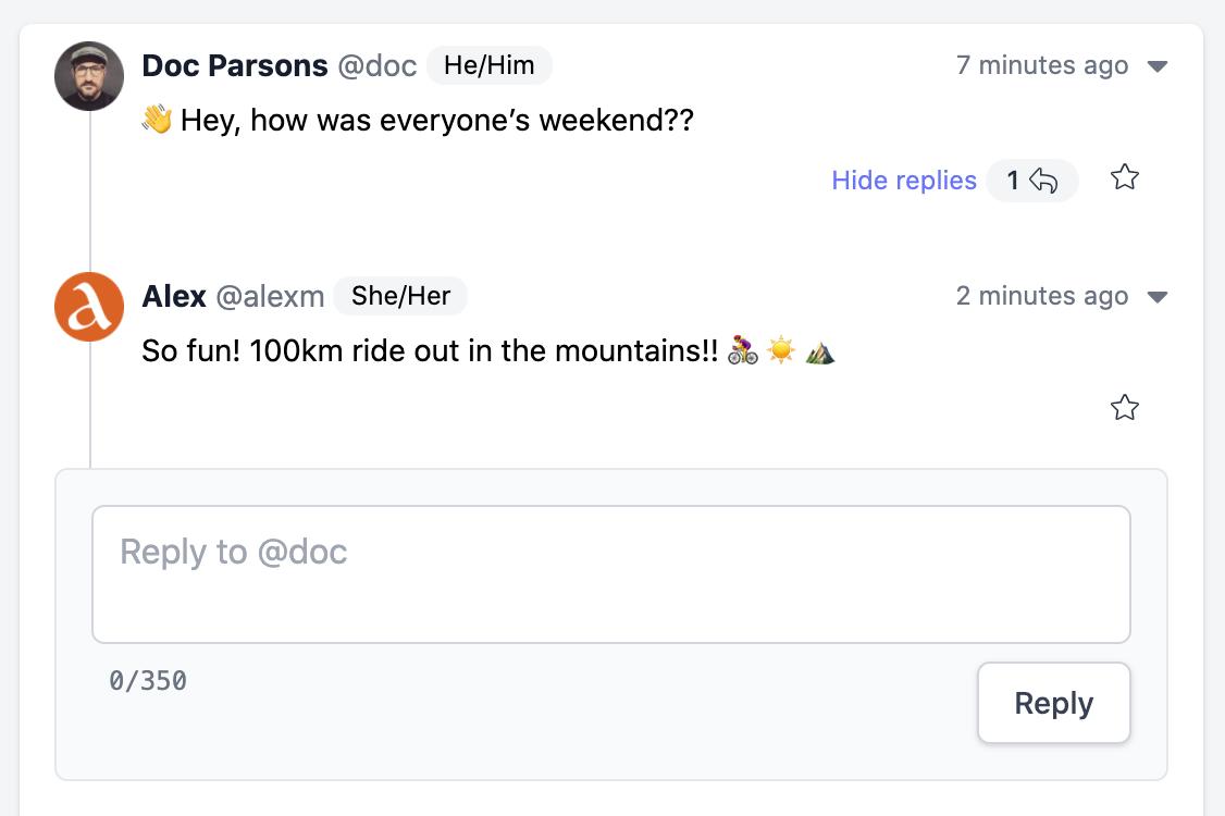Screenshot of a conversation thread