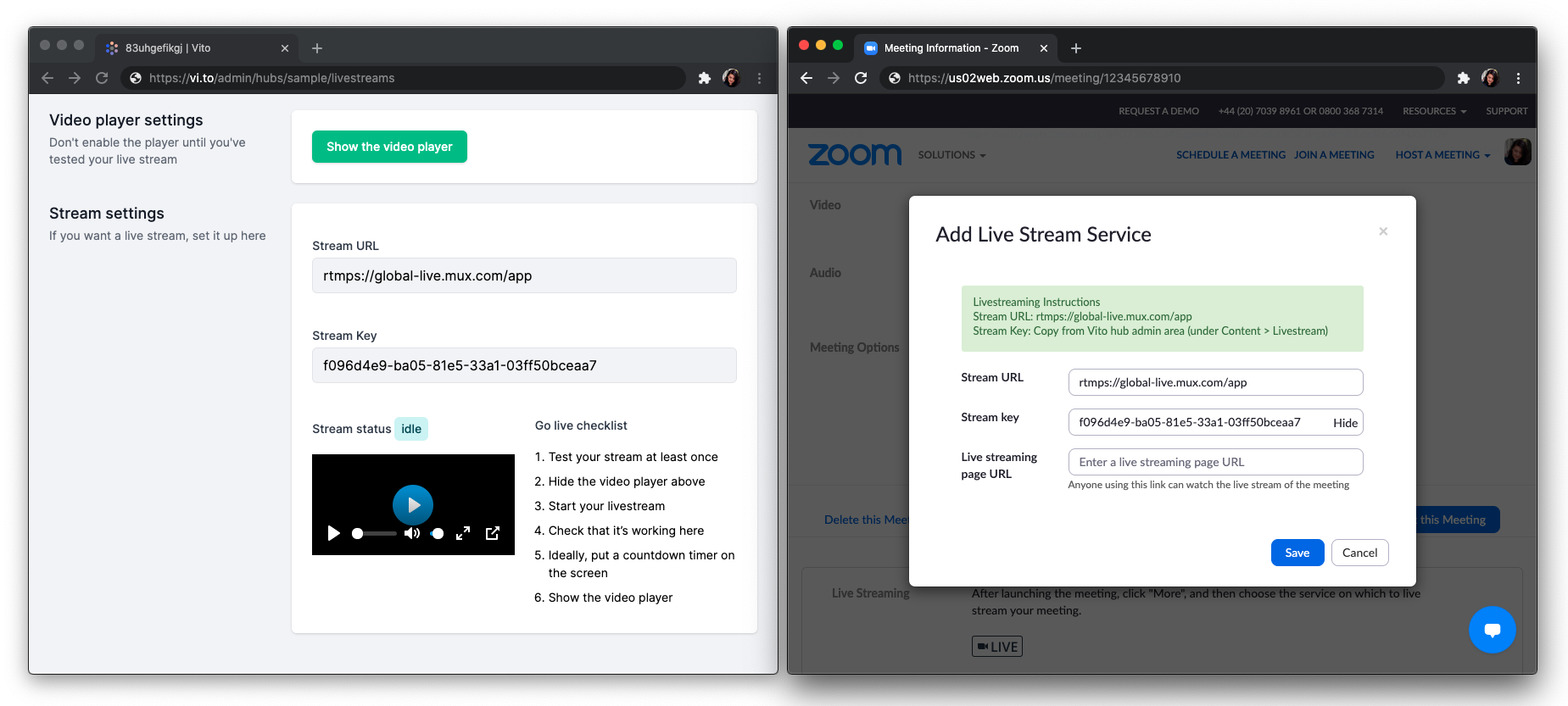 Side-by-side screenshots of Vito and Zoom stream settings