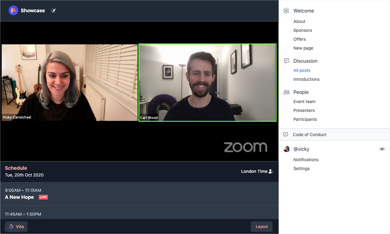 Screenshot of a Vito hub using the Zoom to livestream