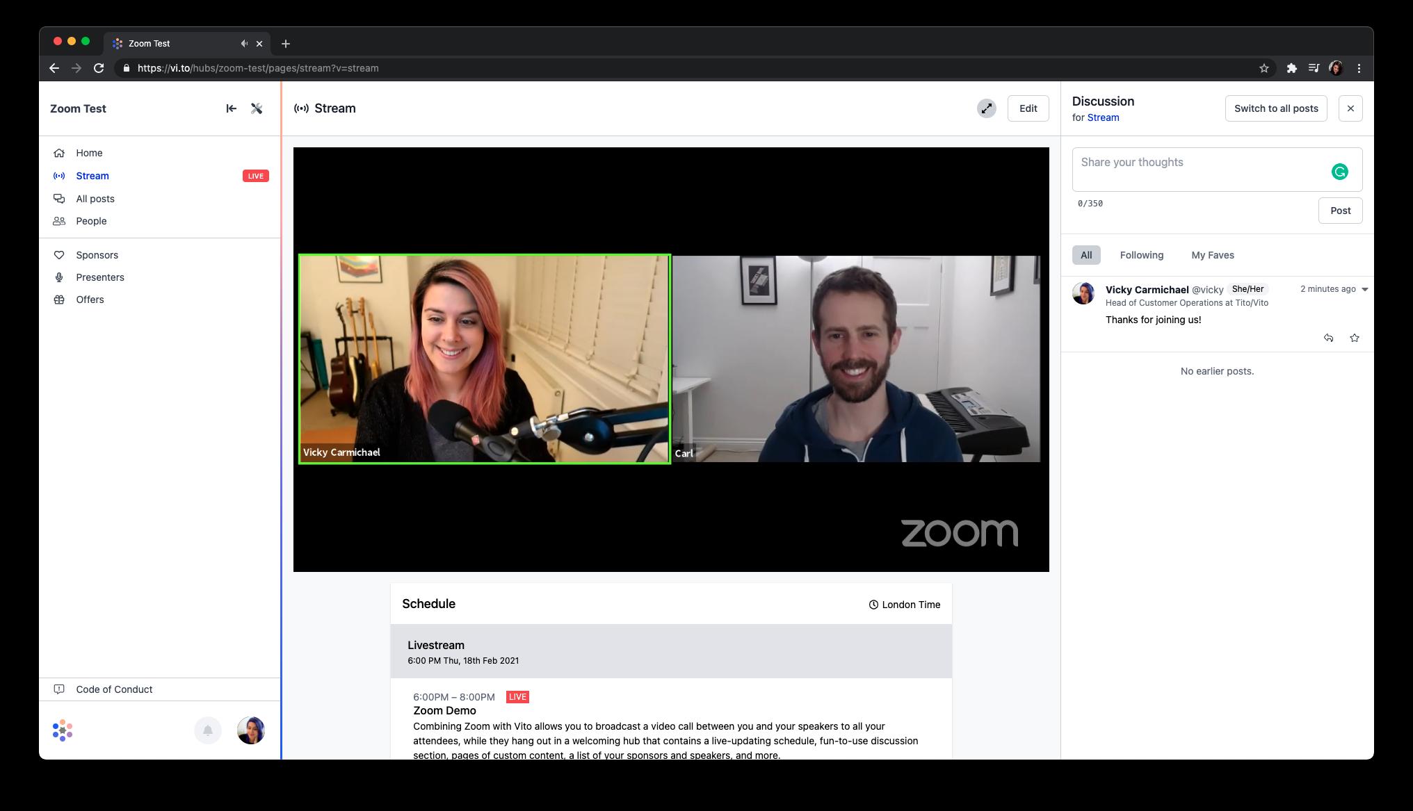 Screenshot of a Vito hub using the Zoom to livestream