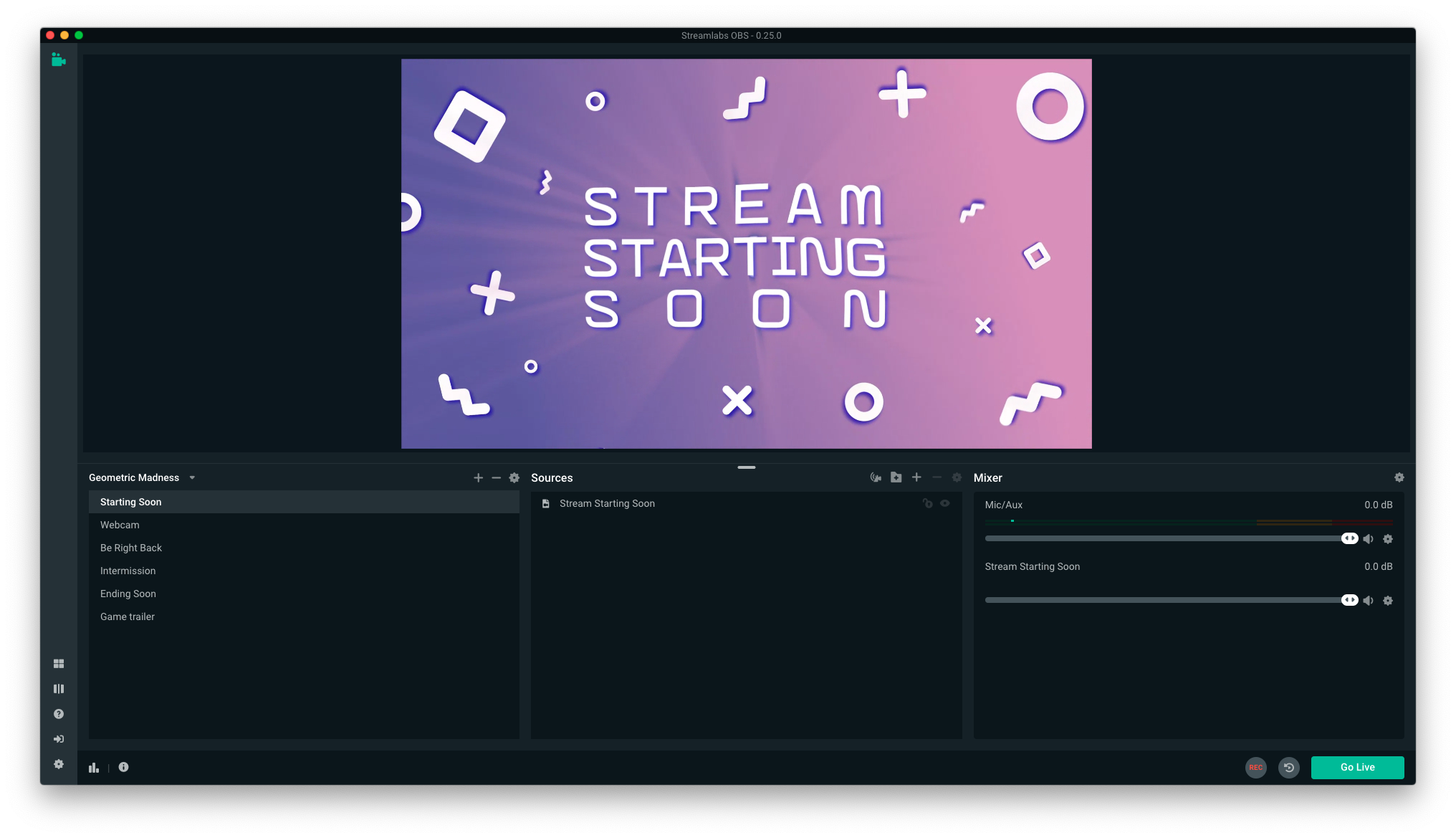 Screenshot of Streamlabs OBS interface